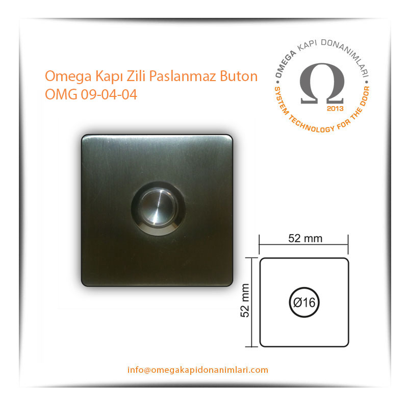 Omega Kapı Zili Paslanmaz Buton OMG 09-04-04