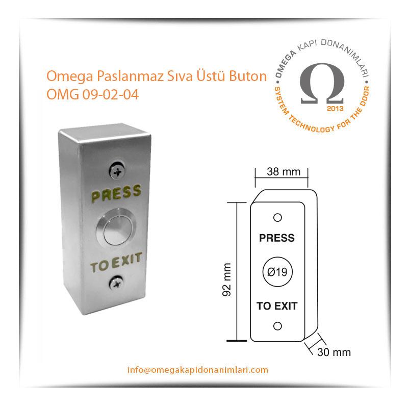 Omega Paslanmaz Sıva Üstü Buton OMG 09-02-04